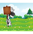 A zebra holding an empty wooden board vector image