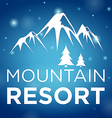 mountain resort and spruce on blue background vector image vector image