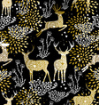 Christmas golden seamless pattern deer reindeer vector image