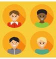 Flat design avatar set of multiracial people vector image