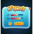 Game options select window for computer app vector image