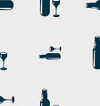 Bottle of wine and glass icon sign Seamless vector image