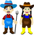 funny couple farmer cartoon holding rake vector image
