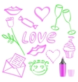 The character set for the day of lovers vector image