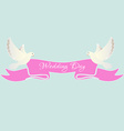 White dove with pink ribbon vector image