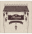 menu with grapes on a stone wall vector image