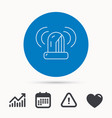 siren alarm icon alert flashing light sign vector image