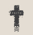 cross with skull and cross-bones with word faith vector image
