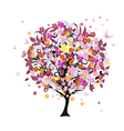 tree flowers vector image vector image