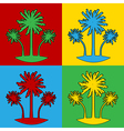 Pop art palm icons vector image