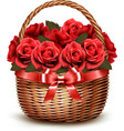Holiday Background With Basket Full Of Red Roses vector image