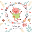 Love romantic card with cute jumping pig vector image