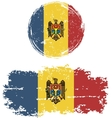 Moldovan round and square grunge flags vector image