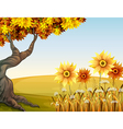 An autumn view with flowers vector image