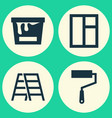 industry icons set collection of glass frame vector image