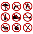Prohibited signs for stadium access vector image vector image