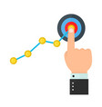 Finger up holding chart arrow on target vector image