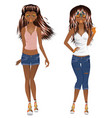 afro american girl casual style vector image