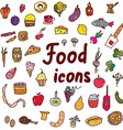 Food icons set - hand drawn design vector image