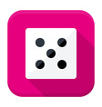 Game dice flat app icon with long shadow vector image