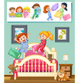 Kids at slumber party in bedroom vector image