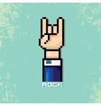pixel art hand sign rock n roll music vector image