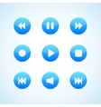 Set of round blue media player buttons vector image