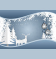 snow flake and ball with deer on blue background vector image