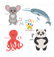 Zoo alphabet with funny cartoon animals M n o p vector image