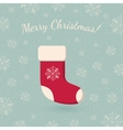 Christmas sock on winter backdrop vector image