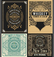 set of antique labels vector image