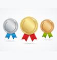 realistic metal award medals set vector image vector image