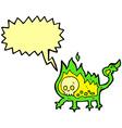cartoon little fire demon with speech bubble vector image