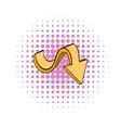 Yellow wavy arrow icon comics style vector image