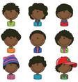 African-American boys avatar vector image