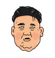 cartoon portrait of the sad kim jong-un vector image