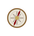 flat cartoon vintage retro style compass vector image