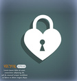 Lock in the shape of heart icon On the blue-green vector image