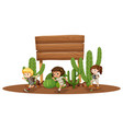 wooden board with three kids in desert vector image