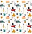 Seamless pattern farm tools flat- vector image