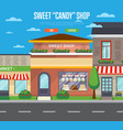 sweet candy shop banner in flat design vector image