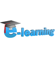 e learning graduation cap word 3D vector image