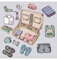 Suitcase with things clothing for travelling vector image