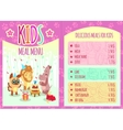 Kids meal menu with animal characters vector image vector image