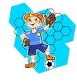 Little boy playing football as a goalkeeper vector image