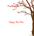 Chinese New Year card with cherry blossom vector image