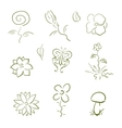 Flora and fauna design elements set vector image