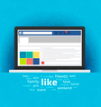 Laptop with social network internet page vector image