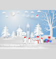 paper art style winter season with snowflake vector image