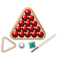 Pool set with red balls and stick vector image